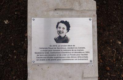 Inauguration pour Madeleine Crab à l'AThénée Royal de Gembloux